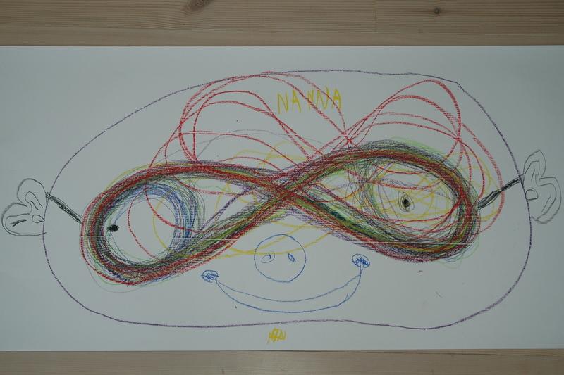 Nanna`s færdige tegning fra temaet liggende ottetaller