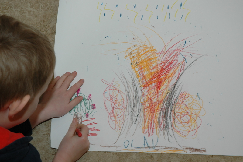 Olav tegner træer m.m. ved vulkanen